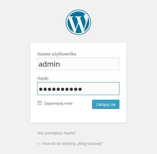 logowanie do wordpress