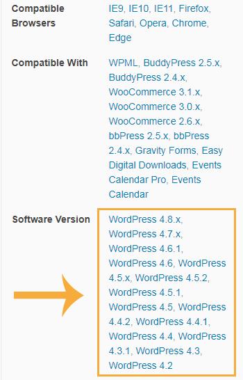 kompatybilność z wersjami wordpressa