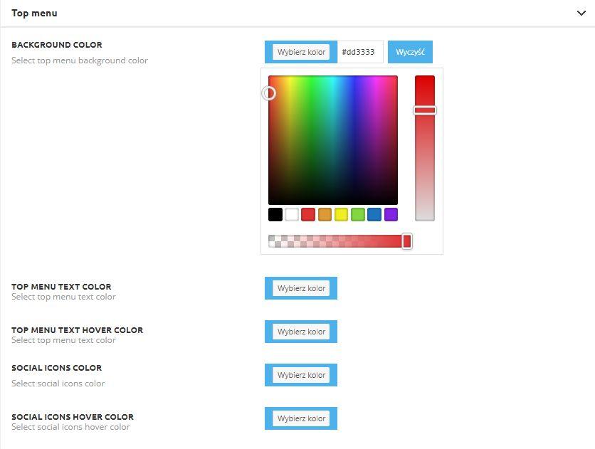 wybór koloru w panelu administracyjnym