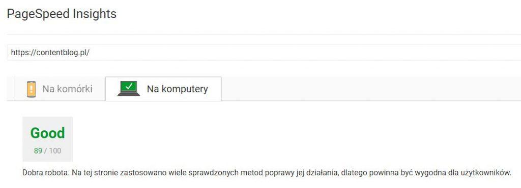sprawdzanie szybkości pagespeed