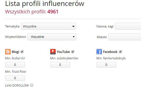wyszukiwarka influencerów