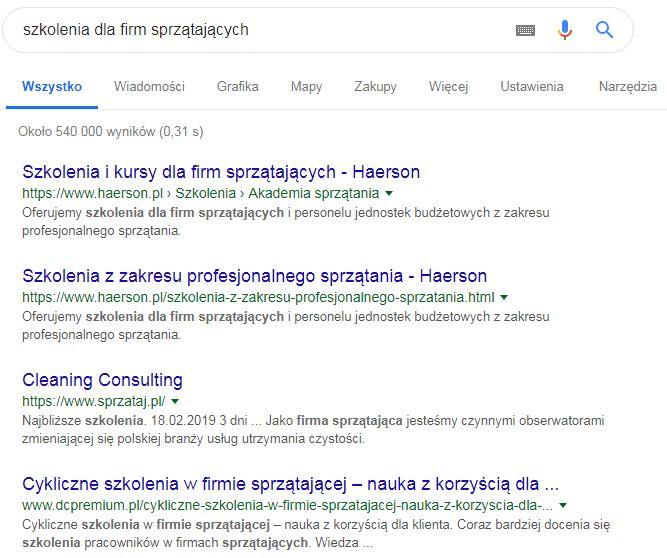 wyszukiwanie w google mniej konkurencyjna