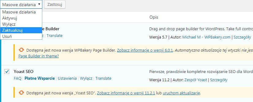 aktualizacja wtyczek do wordpressa