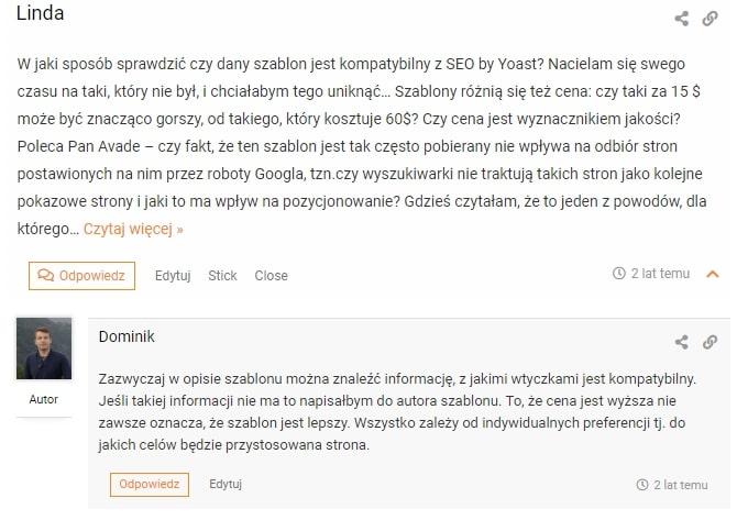 odpowiadanie na komentarze blogowe