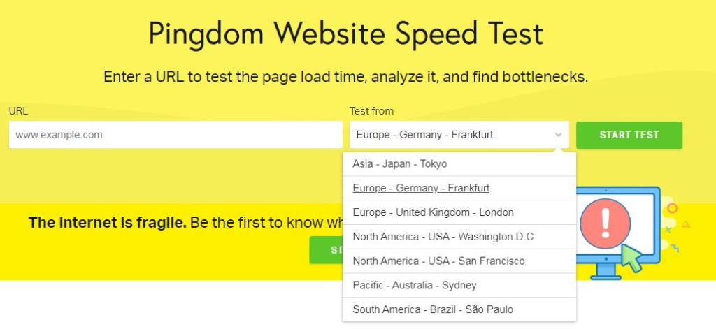 pingdom website speed